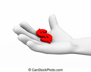 3d dollar sign in hand