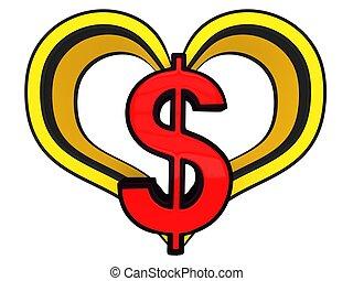 3D dollar sign in heart