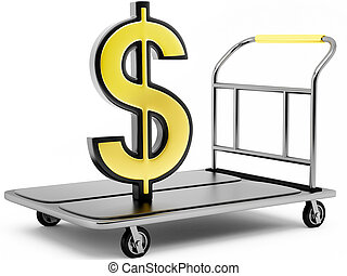 3D dollar sign on a trolley