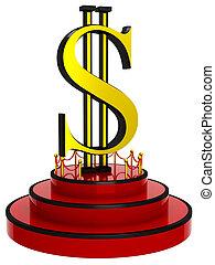 3D Dollar sign on podium
