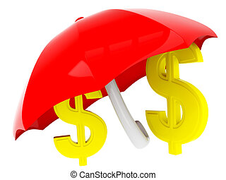 3d dollar sign under umbrella