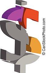3d DOLLAR symbol - Colorful three-dimensional DOLLAR Symbol