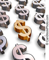 A single golden Dollar symbol surrounded by many chrome-plated Dollar symbols (3D rendering)