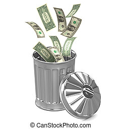 3d Dollar trash can - 3d render of dollars falling into a...