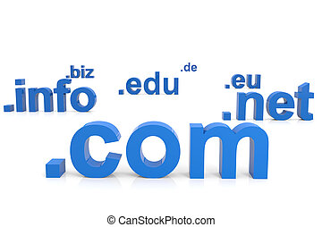 3D domain names. Internet concept. Computer generated image.