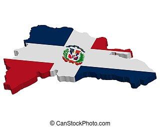 3D Dominican republic map flag vector