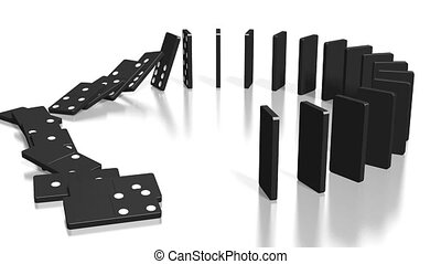 3D domino effect animation - black domino tiles standing in circle fall down.