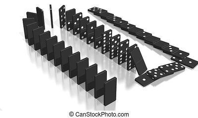 3D domino effect animation - falling black tiles with black dots, following camera.