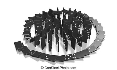 3D domino effect animation - falling black tiles with black dots, spiral shape.