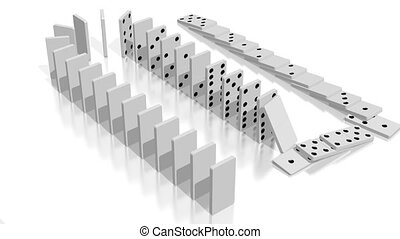 3D domino effect animation - falling white tiles with black dots, following camera.