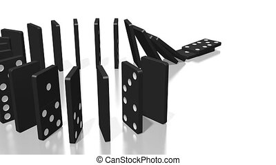 3D domino effect animation - question mark concept - camera following.