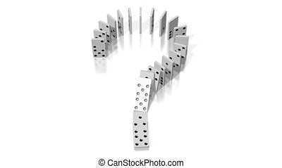 3D domino effect animation - question mark concept - falling white tiles with black dots.