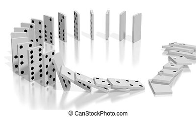 3D domino effect animation - white domino tiles standing in circle fall down, following camera.