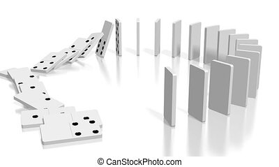 3D domino effect animation - white domino tiles standing in circle fall down.