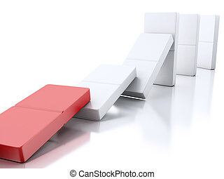 3d Domino tiles falling in a row - 3d illustration. Domino...