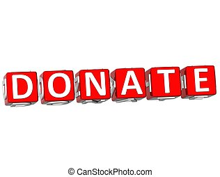 3D Donate Cube text on white background