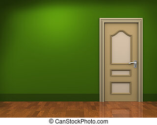 3d door and empty room