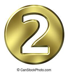 3d, doré, 2, nombre, encadré