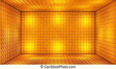 3d, doré, cubes, émission, battre, loopable, 4k, salle, étape, evénements, high-tech