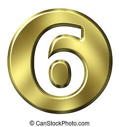3d, doré, encadré, numéro 6