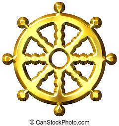 3d, dorado, budismo, símbolo, rueda, de, dharma