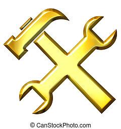 3d, dorado, herramientas