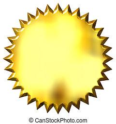 3d, dorado, sello