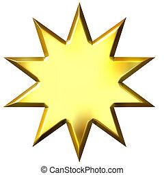 3d, dorato, 10, punto, stella
