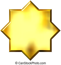 3d, dorato, 8, punto, stella