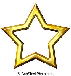 3d, dorato, cornice stella