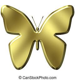 3d, dorato, farfalla