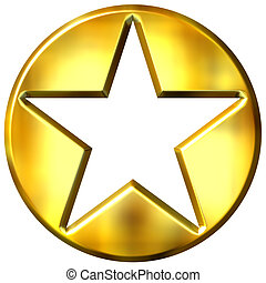 3d, dorato, incorniciato, stella