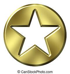 3d, dorato, insegna stella