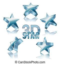 3d, dorato, set stella
