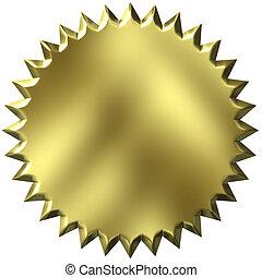 3d, dorato, sigillo