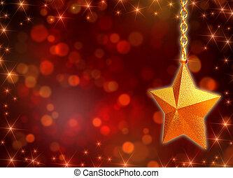 3d, dorato, stella, con, catene, e, luci