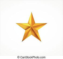 3d, dorato, stella