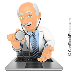 3d, dottore, uscire, uno, laptop, schermo, con, uno, stetoscopio