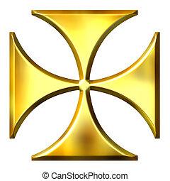 3d, dourado, alemão, crucifixos