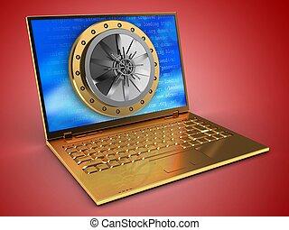 3d, dourado, computador, e, abóbada, porta