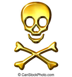 3d, dourado, crossbones