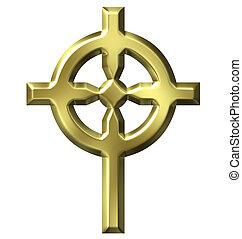 3d, dourado, cruz céltica
