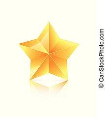 3d, dourado, estrela, isolado, branco, experiência., vencedor, icon., vetorial, ilustração