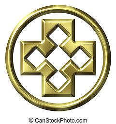 3d, dourado, formulou, crucifixos