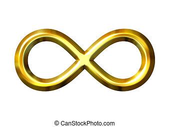 3d, dourado, infinidade, símbolo