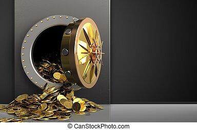 3d, dourado, moedas, sobre, pretas