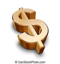 3d, dourado, símbolo dólar