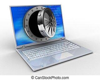 3d, draagbare computer, en, geopend, gewelf, deur