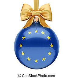 3d, drapeau, noël, union, balle, européen, rendre