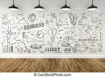 3d drawing business concept on wall in room